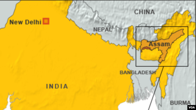 Map showing location of Assam state
