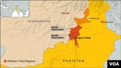 Peta wilayah Angoor Adda,Waziristan Selatan, Pakistan (Foto: dok).