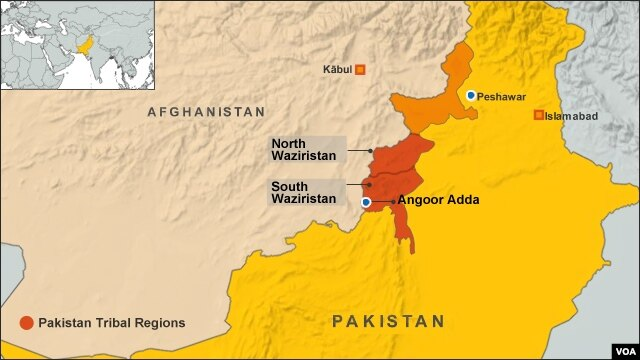 Bản đồ vùng bộ tộc Bắc, Nam Waziristan ở Pakistan.