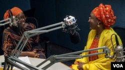 FILE - Nigerian first lady Aisha Buhari (R) is seen with VOA Hausa's Jamila Kabiru Fagge, during a visit to VOA studios in Washington, D.C., Aug. 5, 2016.