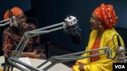 FILE - Nigerian first lady Aisha Buhari (R) is seen with VOA Hausa's Jamila Kabiru Fagge, during a visit to VOA studios in Washington, D.C., Aug. 5, 2016.