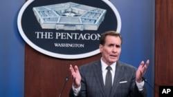 Pentagon spokesman John Kirby speaks during a media briefing at the Pentagon, July 12, 2021, in Washington.