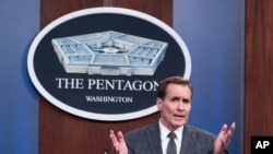 FILE - Pentagon spokesman John Kirby speaks during a media briefing at the Pentagon, July 12, 2021, in Arlington, Virginia.