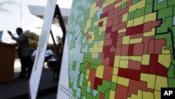 Peta ini menunjukkan tingginya kasus gonorrhea pada perempuan usia 15 -24 tahun di Los Angeles (merah) pada tahun 2011 (foto: dok).