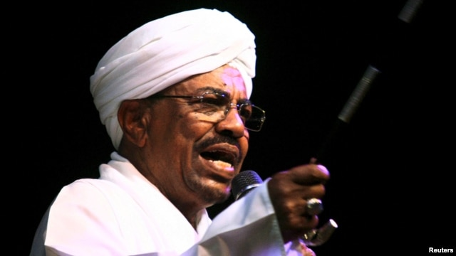 FILE - Sudan's President Omar Hassan al-Bashir speaks to the crowd after a swearing-in ceremony at green square in Khartoum, June 2, 2015.