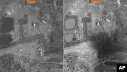 Satellite images of Heglig in February and April 2012. Right hand image reportedly shows extensive damage to key oil pipeline component called oil collection manifold.
