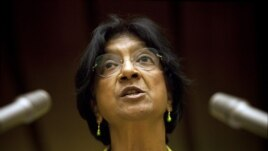UN High Commissioner for Human Rights Navi Pillay addressed the Human Rights Council on Syria at the United Nations in Geneva, September 10, 2012 file photo.