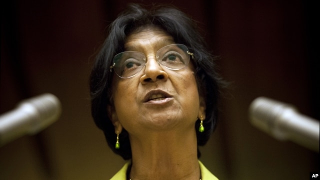 UN High Commissioner for Human Rights Navi Pillay addressed the Human Rights Council on Syria at the United Nations in Geneva, Switzerland, Monday, Sept. 10, 2012. (AP)