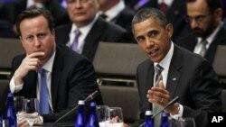 Başkan Obama NATO zirvesinde İngiltere Başbakanı David Cameron ile..