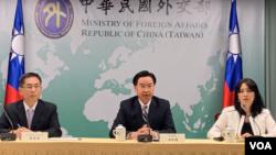台灣外交部長吳釗燮2019年9月20日召開記者會宣布台灣與另一個南太平洋島國基里巴斯共和國斷交。 (美國之音林楓拍攝)