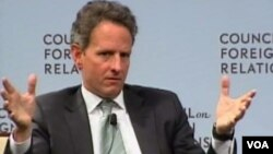 United States Treasury Secretary Tim Geithner speaking to the Council on Foreign Relations in Washington.
