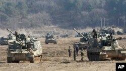 11일 판문점 인근에서 2013 키리졸브 훈련에 돌입한 미-한 연합군.
