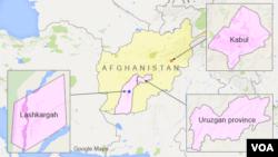 Kabul, Lashkargah, iyo gobolka Uruzgan ee Afghanistan.