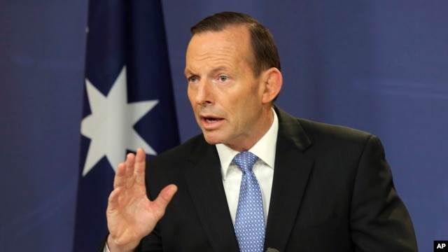 FILE - Australia's Prime Minister Tony Abbott speaks during a press conference in Sydney, Australia, July 19, 2014.