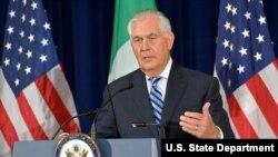 Ngoại trưởng Tillerson tại họp báo ở Bộ Ngoại giao Mỹ (ảnh tư liệu, 18/5/2017)