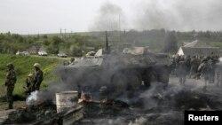 烏克蘭東部反政府武裝分子星期五擊落一架烏軍直升機