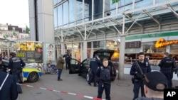 德國海德堡警方封鎖事件現場進行調查