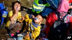 FILE - Children are seen eating milk powder as they wait for a bus in a temporary holding center for migrants near the border between Serbia and Hungary in Roszke, southern Hungary, Sept. 13, 2015.