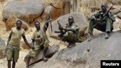 SPLA-North rebel fighters pictured near Jebel Kwo village in rebel-held territory in South Kordofan on May 2, 2012.