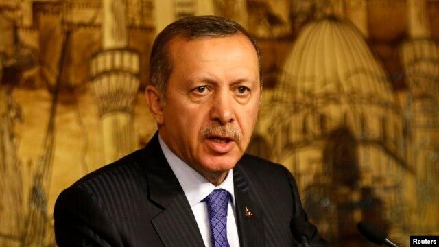 FILE - Turkey's Prime Minister Tayyip Erdogan speaks during a press conference.