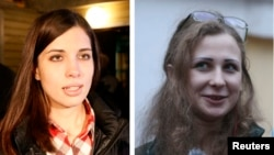 A combination photo shows freed Pussy Riot members Nadezhda Tolokonnikova (L) in Krasnoyarsk and Maria Alyokhina (R) in Nizhny Novgorod speaking to the media after they were released from prison, Dec. 23, 2013.