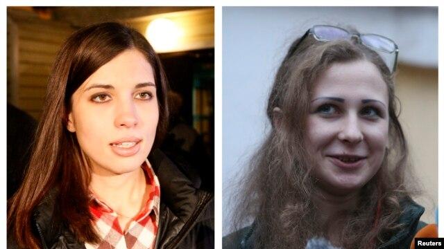 2 thành viên ban nhạc Pussy Riot Nadezhda Tolokonnikova (trái) và Maria Alyokhina vừa được trả tự do, 23/12/13