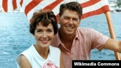 Nancy and Ronald Reagan on a boat in 1964. Nancy Reagan died March 6 at the age of 94.