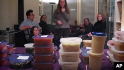 For Soup Swaps, each person brings six quarts of soup. They then draw numbers and go around the room six times until everybody goes home with new soups.