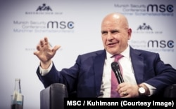 "U.S. National Security Adviser H.R. McMaster warns the 54th Munich Security Conference in Germany, Feb. 17, 2018, that ""we meet at a critical time for our nations, and indeed for all humanity."""