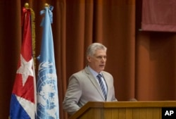 FILE - Cuba's President Miguel Diaz-Canel speaks at the opening session of the United Nations Economic Commission for Latin America biennial meeting, in Havana, May 8, 2018.