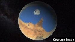 북반구에 광대한 바다가 있었다고 추정하는 약 43억 년 전 화성 상상도. 미 항공우주국 NASA 제공.