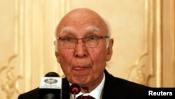 FILE - Sartaj Aziz, Pakistan prime minister Nawaz Sharif's adviser on foreign affairs.