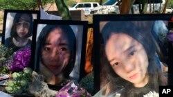2018年6月11日,在亚利桑那州坦培市的一次纪念活动中,有江玥的大照片。