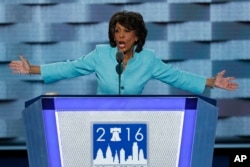 FILE - Rep. Maxine Waters, D-Calif., speaks during the third day of the Democratic National Convention in Philadelphia, July 27, 2016.