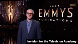 Television Academy Chairman and CEO Frank Scherma welcomes viewers to the virtual 73rd Emmy Awards Nominations Announcements during the live streaming event on July 13, 2021.