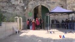 2017-07-27 美國之音視頻新聞: 耶路撒冷穆斯林慶祝以色列從聖地撤走保安設備 (粵語)