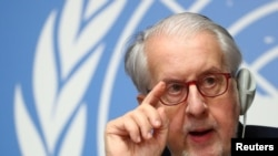 Paulo Pinheiro, chairperson of a commission of inquiry on Syria, attends a news conference at the United Nations in Geneva, March 2, 2020.