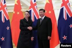 2019年4月1日中國國家主席習近平和新西蘭新西蘭總理傑辛達·阿德恩在人民大會堂舉行會議。
