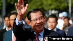 In this photo taken on June 28, 2019, President of the ruling Cambodian People's Party and Prime Minister Hun Sen attends a ceremony to mark the 68th anniversary of the establishment of the party in Phnom Penh, Cambodia.