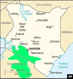 A map showing the Maasai group's traditional land in northern Tanzania and southern Kenya (in green)