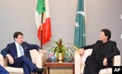 عمران خان اور اٹلی کے وزیر اعظم گیوسپے کانتے سے ملاقات کا ایک منظر۔ 23 ستمبر 2019