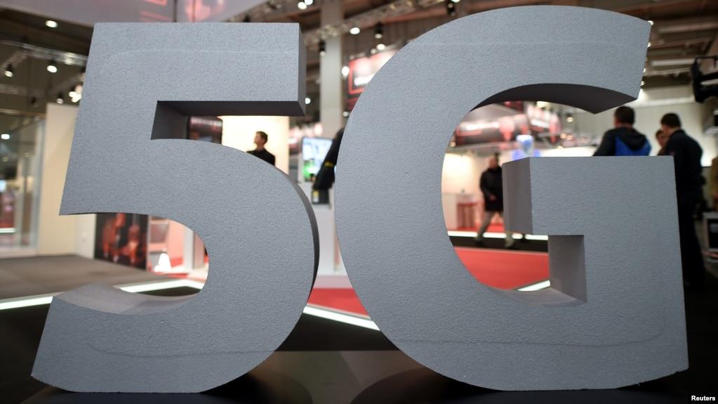 德国汉诺威的5G标志。(2019年3月31日)(photo:VOA)