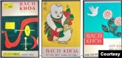 Từ trái, những mẫu bìa đẹp của Bách Khoa của các hoạ sĩ danh tiếng: Tạ Tỵ, Phạm Tăng, Văn Thanh. [5]