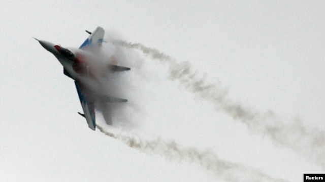 FILE - A Russian MiG-29 fighter jet is seen at an air show outside Moscow.