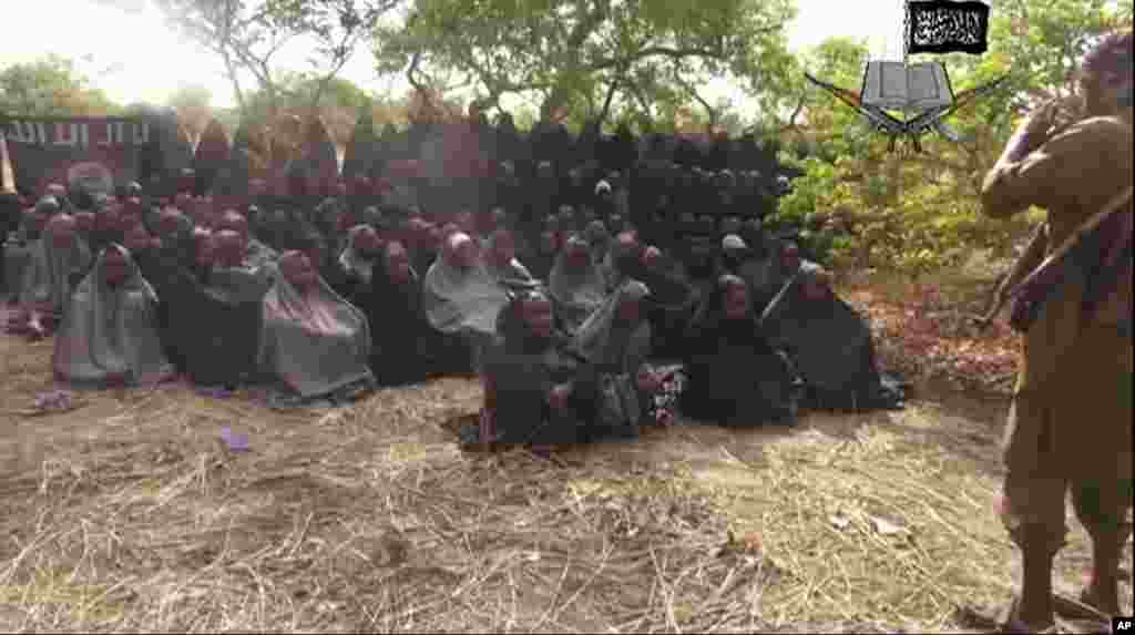This video released by the extremist militant group, Boko Haram, shows the alleged missing girls abducted from the northeastern town of Chibok, May 12, 2014.