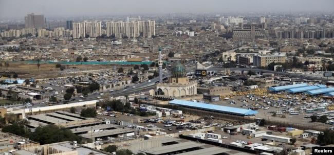 Kota Baghdad, Irak, dilihat dari udara, 4 Maret 2018. Gambar diambil dari helikopter.