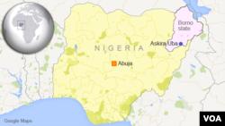 Map of Nigeria showing Askira Uba.