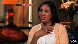 Nafissatou Diallo, pelayan hotel di New York yang menuduh mantan direktur IMF Strauss-Kahn saat wawancara dengan televisi ABC (25/7).