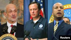 Слева направо - Майкл Чертофф, Майкл Браун и мэр Нового Орлеана Рэй Нэджин