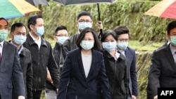 資料照:台灣總統蔡英文在新北市出席網絡安全調查辦公室的成立儀式。 (2020年4月24日)